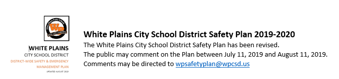White Plains School Icon and email address for submitting comments