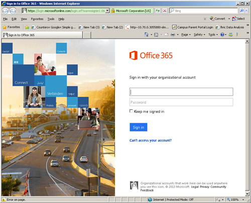 Office 365 Sign In Screenshot