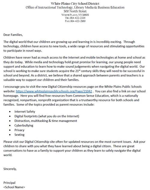 Digital Citizenship Family Letter (English)