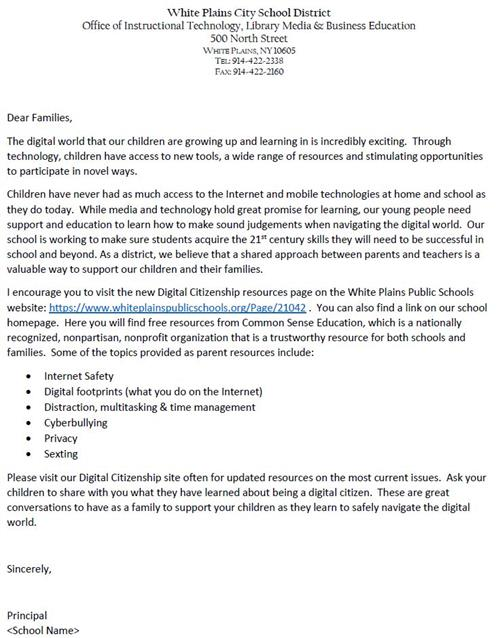 Digital Citizenship Family Letter (Spanish)