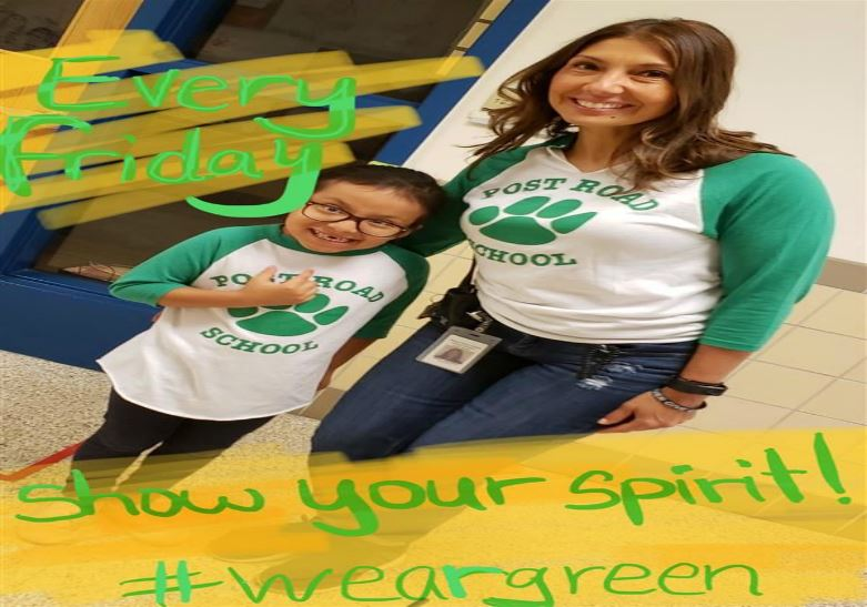 Show your school spirit every Friday - Wear your green and white!