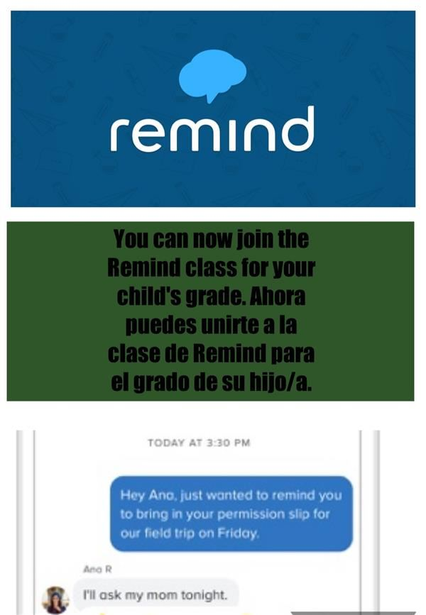 Remind  App for each grade