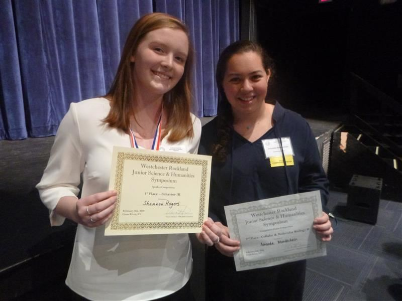 Congratulations Amanda Mondschein & Shannon Rogers at the annual Westchester-Rockland Junior Science & Humanities Symposium.