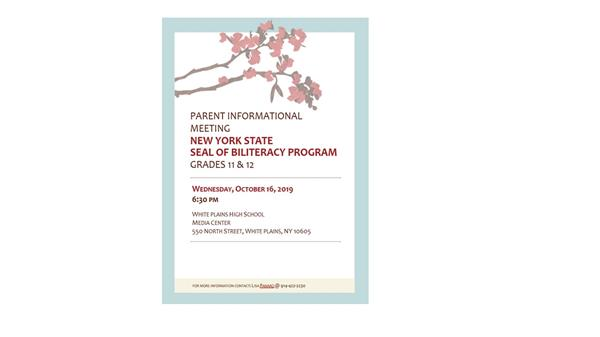 Parent Information Meeting - NY Seal Biliteracy Program