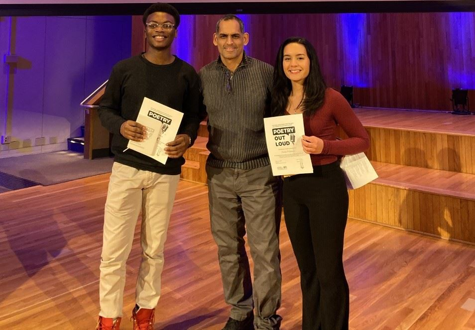 Congratulations, Nathaniel Fields and Zaida Polanco both represented the WPCSD and for the third year in a row, a student from WPHS has beaten out the best from the NYC/Westchester County area to go to the NY State Poetry Out Loud finals.
