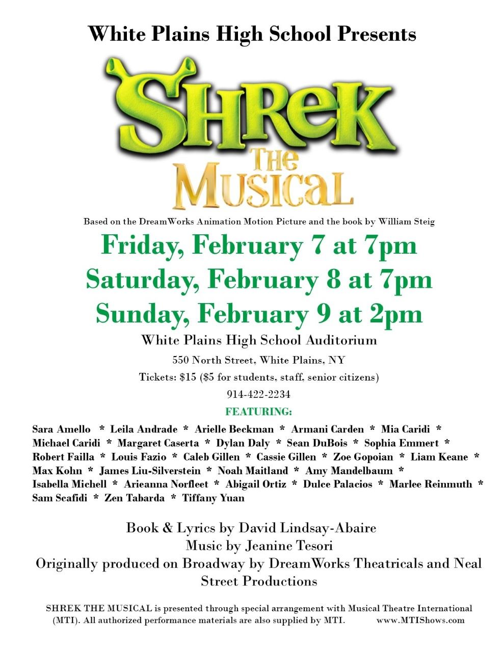 WPHS Presents SHREK the Musical in the Little Theater