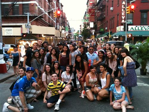 WPHS Italian Students on Mulberry Street in Manhattan's Little Italy, June 2011
